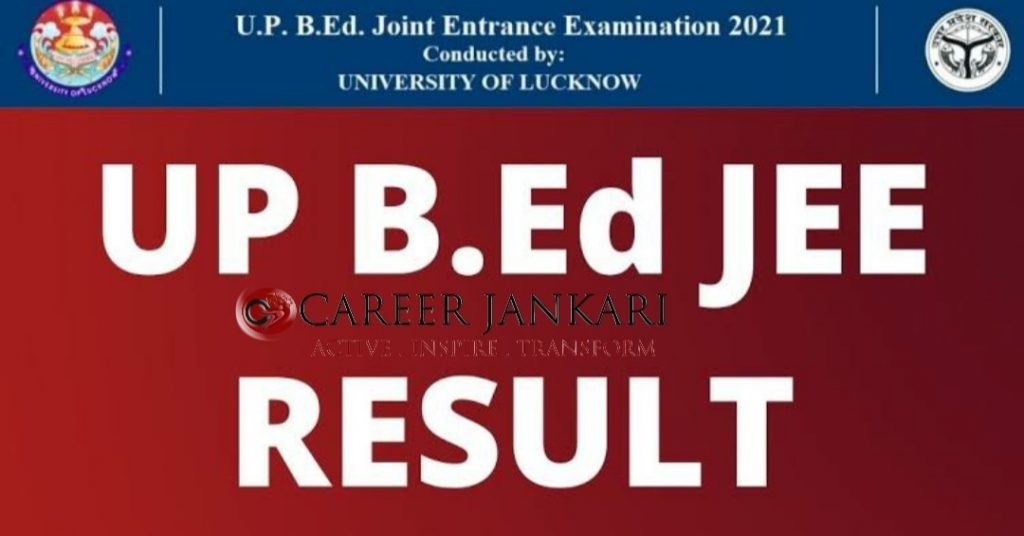UP BEd JEE Result 2021